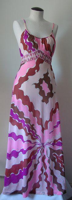 EMILIO PUCCI VINTAGE PINKS & BROWNS TIE WAIST FORMFIT ROGERS 1960'S DRESS