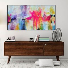 Abstract painting pink fuchsia purple purple Blue Print Large