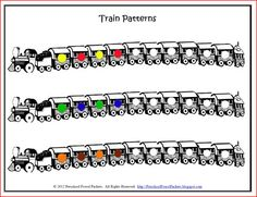 {FREE} Printable: Pattern Trains!  (very fun to use with M&M's!)