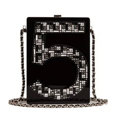 Chanel Black No. 5 Plexiglass Minaudiere Clutch | From a collection of rare vintage evening bags and minaudières at https://www.1stdibs.com/fashion/handbags-purses-bags/evening-bags-minaudieres/
