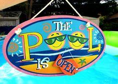 Cute pool sign Backyard Pool And Spa, Pool Fun, Hm Deco, Swimming Pool Signs, Pool Paint, Pool Rules, Summer Signs, Summer Pool, Pool Days