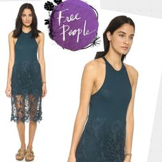 Free People Tank Dress A lace overlay lends an extended drape to this slouchy Free People tank top. The halter neckline adds a unique touch, and a back keyhole provides a glimpse of skin. Color: Deep Teal  Fabric: Ribbed jersey. Shell: 50% cotton/50% modal. Trim: 100% cotton. Free People Dresses