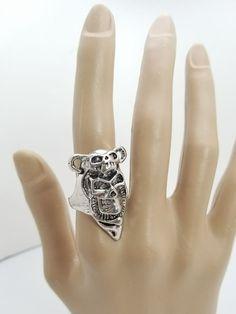 Silver Plated Punk Rock Ring Size 8.5 Halloween Tiki Monkey Mask Biker USA Sell #Unbranded