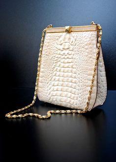 Vintage Cream Alligator Handbag/Purse - Italian Made by Designer Retta Wolff