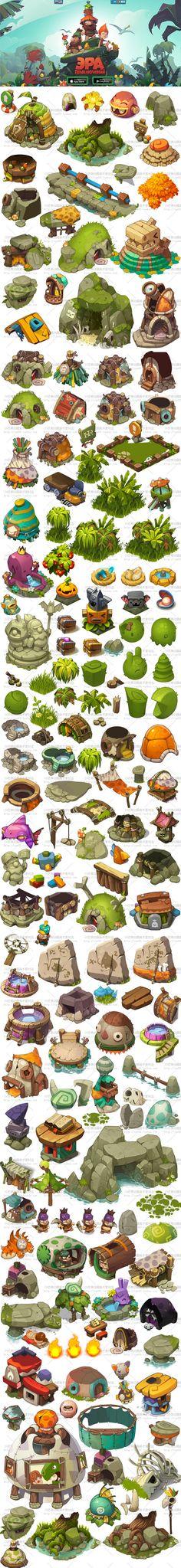 Spel van het oorspronkelijke schilderij scènes materiële middelen 2D resource leuke kaart ...