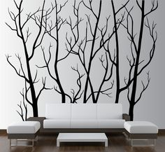 InnovativeStencils - Large Wall Vinyl Tree Forest Decal Removable