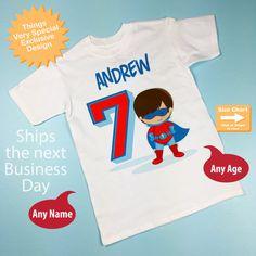 Boys Personalized Superhero 7th Birthday By ThingsVerySpecial Boy Shirts Party