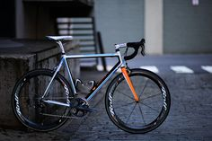 Icarus Road bike. @Matt Noble this would look good on the salsa just spray the fork orange