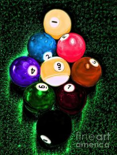 """Billiards Art - Your BreakBilliard balls lined up for friendly game of 9 ball. """"Your Break"""" is the title of this piece with brightly colored pool ball. Pool Table Room, Man Cave Art, Man Caves, Pool Images, Man Cave Gifts, Billiard Room, Unique Wall Art, Paint Party, Green Backgrounds"""