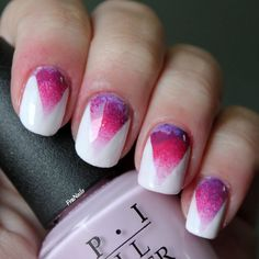 A bright pink and purple gradient nail art for a cute and fun manicure.