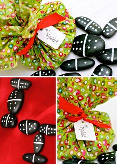 What a super easy gift to make - using black river stones and a paint pen, make dominos (the website has a chart for all the domino combinations you'd need) and then wrap in a piece of fabric (use pinking shears on the edges) and tie with a ribbon!
