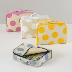 The Land of Nod | Kids Storage: Polka Dotted Cube Suitcase