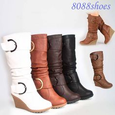 Cute Round Toe Slouch Buckle Wedge Mid Calf  Boot Women's Shoes Size 5 -10 NEW   #TopModa #Wedge #Brown