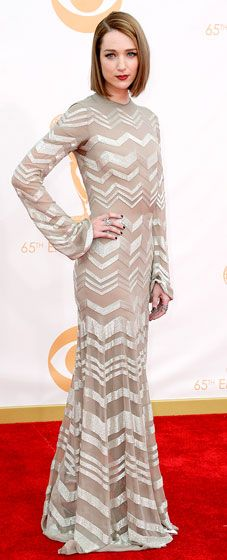 Kristen Connolly wore a chevron-print long-sleeved gown at the 2013 Emmys.