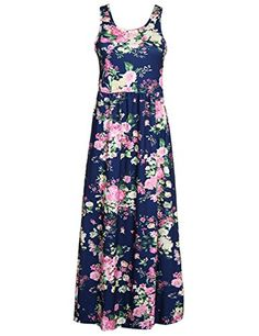 PARTY LADY Womens Summer Sleeveless Boho Long Dress Beach Sundress Size L Navy * Want to know more, click on the image-affiliate link.