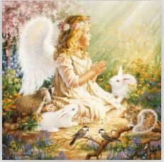 Angel and rabbits Embroidery with diamonds Painting by numbers rhinestones Diamond mosaic needlework Wall art decor Picture Y554 #Affiliate