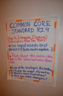 Literacy & Math Ideas: Common Core Lesson Plans - Integrating information from two texts Common Core Ela, Common Core Reading, Common Core Standards, Reading Resources, Teaching Reading, Teaching Ideas, Teaching Materials, Kindergarten Writing, Reading Strategies