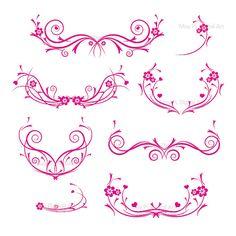 Flourishes HOT PINK Decorations Damask Decorative Flower Curly Swirls Flourish Clip Art Clipart Embellishment DIY Wedding Invitations 10344 via Etsy