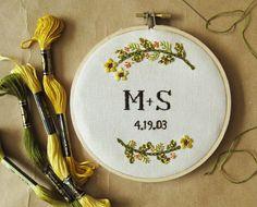 Custom+wedding+embroidery+hoop+wall+art++spring+flowers+by+oktak,+$110.00