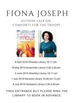 Poster showing dates for 2015 library tour for 'Comforts For The Troops'.