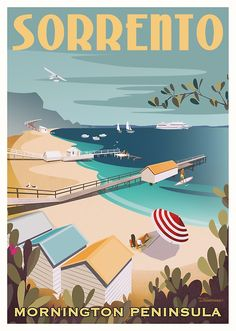 'Sorrento Vintage-style Travel Poster' Canvas Print by dylansketchbook Party Vintage, Posters Australia, Tourism Poster, Poster Poster, Illustrations Vintage, Australian Vintage, Vintage Fashion, Vintage Style, Vintage Ski