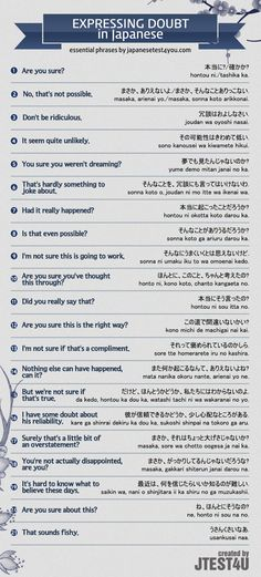 Infographic: how to express doubt in Japanese. http://japanesetest4you.com/infographic-how-to-express-doubt-in-japanese/
