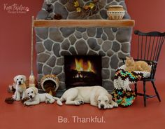 Be thankful miniature aninal sculptures by Pajutee on deviantART - 1:12 scale, Chair by artist, Bill Clinger. Baskets by Lidi Stroud.