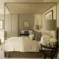 A good Feng Shui bedroom, skin-toned colours, no electronics around the bed, round night stand and lamps etc Soft Grey Bedroom, Bedroom Green, Home Bedroom, Bedroom Decor, Bedroom Ideas, Warm Bedroom, Neutral Bedrooms, Green Rooms, Master Bedrooms