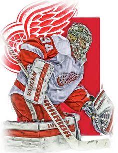 Petr Mrazek Print featuring the mixed media Petr Mrazek Detroit Red Wings Oil Art by Joe Hamilton
