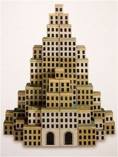 Anonymous; Lacquered Wood 'Sky-High' Building Blocks, 1920s.