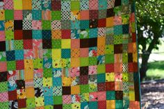 "a quilt is nice: market square! I like that she drew each square randomly out of bag--no planning. 3"" squares"