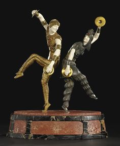 """** Demetre H. Chiparus (Romanian 1886 - 1947), Paris, """"Danseurs Russes"""" Sculpture; Cold-Painted, Parcel-Gilt and Silvered Bronze, Carved and Tinted Ivory, Marble and Onyx Base, 1928."""