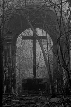 What I could only imagine use to be a place of worship. Place of Worship Cemetery Headstones, Old Cemeteries, Cemetery Art, Graveyards, Cemetery Angels, Terra Nova, Spooky Places, Dark Photography, Dark Places
