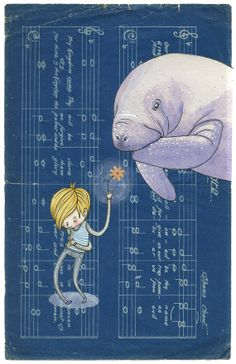 Be My Manatee - A5 Print - dugong sea creature under water boy love flower gift humour romance blue purple sheet music whimsy sweet offer