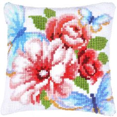 Набор для вышивания подушки Розовые цветы и голубые бабочки