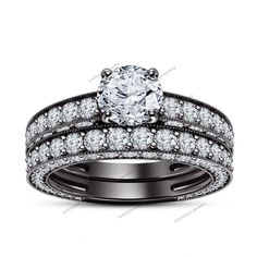 3.4/5 Ct. Round Cut Diamond Solitaire Wedding Bridal Ring Set in 10K Black Gold #br925silverczjewelry