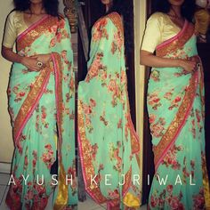 TOYA This teal/sea green floral print saree with the gold hand embroidered border is one piece that you will cherish forever  For purchase enquires email me at ayushk@hotmail.co.uk or whats app me on 00447840384707. We ship WORLDWIDE.  #sarees#saris#indianclothes#womenwear #anarkalis #lengha #ethnicwear #fashion #ayushkejriwal#Bollywood #vogue #indiandesigners #handmade #britishasianfashion #instalove #desibride #bollywoodfashion #aashniandco #perniaspopupshop #style #indianbeauty #classy…