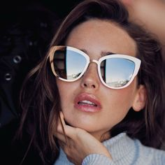 Quay Super Girl Brown & Gold Oversized Sunglasses