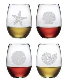 Bring this beautiful Seashore designed Stemless Wine Glass set to you coastal dining table. Shop lots of coastal etched wine glasses at Beach Decor Shop.