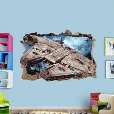 MILLENNIUM FALCON 3d Wall Sticker Smashed Star Wars Awesome