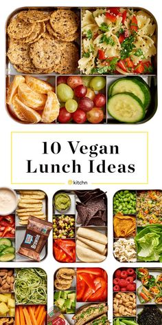 10 Easy Vegan Lunch Box Ideas: Need some lunch inspiration? Some fresh ways to pack a healthy, satisfying lunch? We have 10 beautiful ideas for you today, and (shhh!) they're all vegan. Easy Vegan Lunch, Vegan Lunch Recipes, Vegan Lunches, Vegan Meal Prep, Healthy Snacks, Vegetarian Lunch Ideas For Work, Vegan Lunch For School, Kids Vegan Meals, Vegan Recipes For Kids