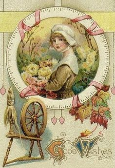 Spinning wheel in vintage Thanksgiving card