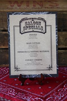 Serve up your western favorites with this menu! Provided with Murder at The Deadwood Saloon murder mystery party