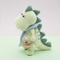 Crochet Baby Toys, Crochet Toys Patterns, Stuffed Toys Patterns, Crochet Dolls, Knitting Patterns, Crochet Dinosaur, Teething Toys, Baby Rattle, Amigurumi Doll