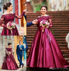 Burgundry Illusion Long Sleeves Prom Dresses 2017 A Line Beaded Lace Off Shoulder Long Satin Plus Size African Arabic Bridal Party Gowns A Line Prom Dresses Dresses Party Evening 2016 Prom Dresses Online with $209.15/Piece on In_marry's Store | DHgate.com