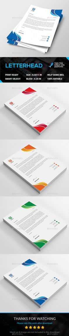 Corporate Letterhead Template Bundle - MS Word, PSD Letterhead - psd letterhead template