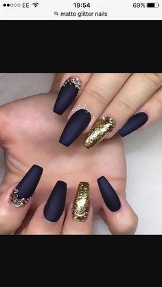 Navy Blue And Gold Matte Nail Design Nails Nail Art Matte Nails
