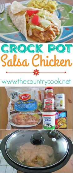 Click on picture to see this Crockpot Salsa Chicken recipe from The Country Cook! Hands down, one of my top favorite slow cooker recipes. Love, love, love this stuff! It's great in tacos, burritos, salads or tostadas. But I also love to add cooked pasta into the mixture and it becomes a whole meal by itself. So good!