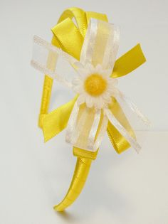 Girls Hard Headband Hair Bow Childrens Yellow by GenesisArtworks, $7.98