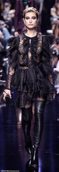 Go gothic in a ruffled lace dress like Hailey   Click 'visit' to buy it now  #DailyMail